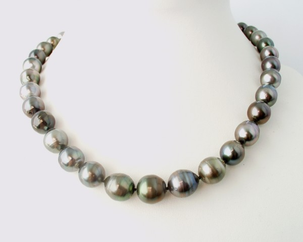 Silver - Copper baroque pearl necklace
